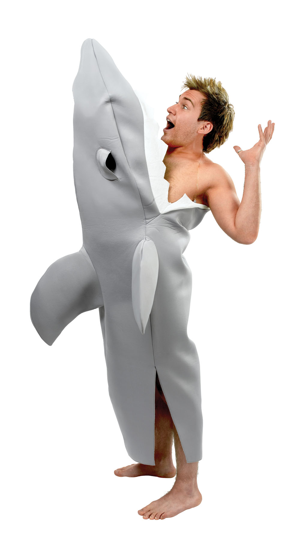 Mens Grey Shark Attack Bite Fancy Dress Costume Surfer Halloween Party Outfit Ne