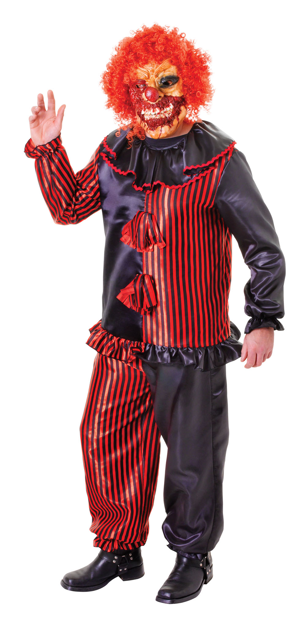 Mens Black & Red Zombie Clown Fancy Dress Costume Halloween Scary Outfit New