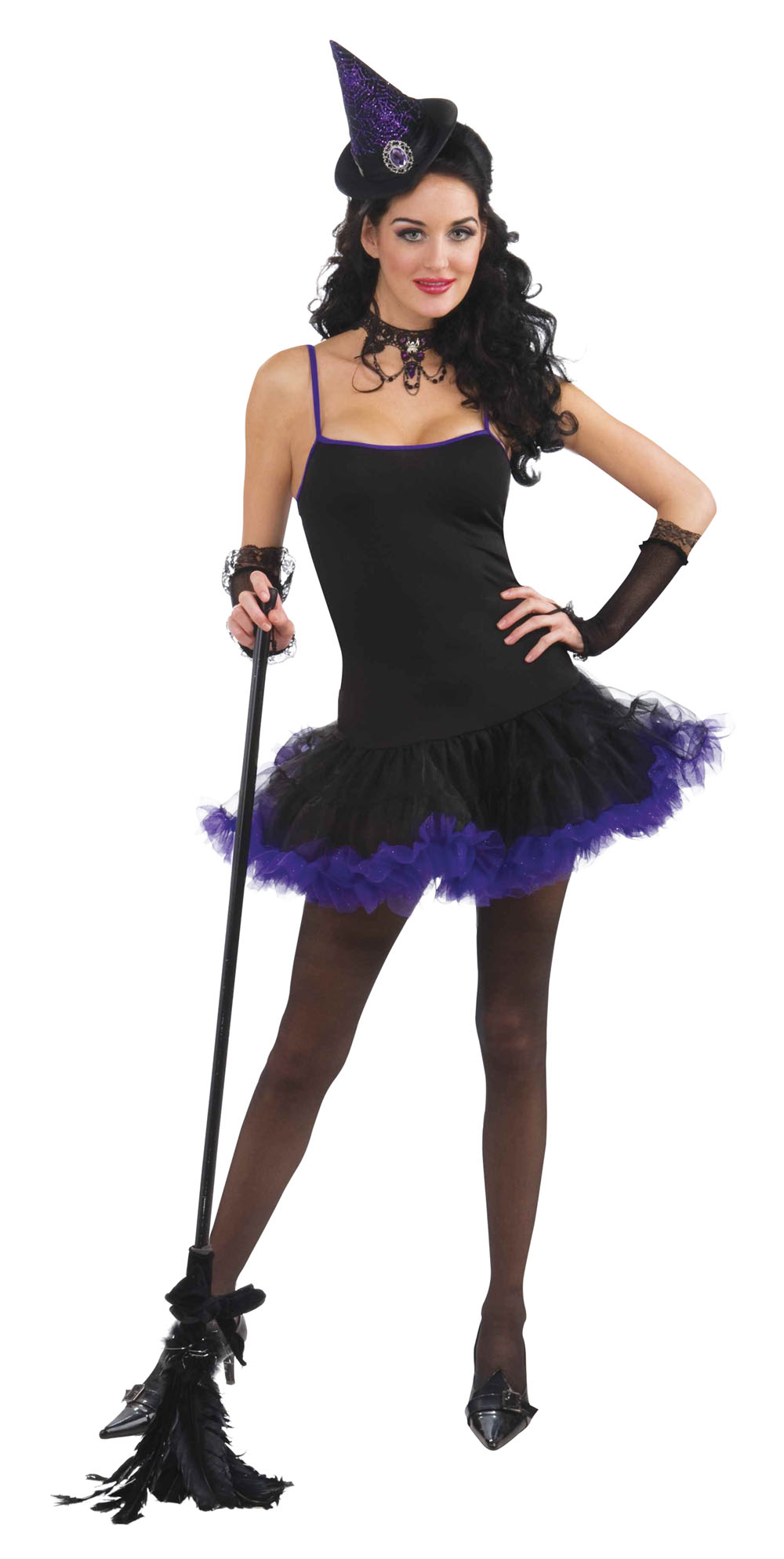 Ladies Black & Purple Sexy Witches Halloween Fancy Dress Costume Outfit UK 10-14