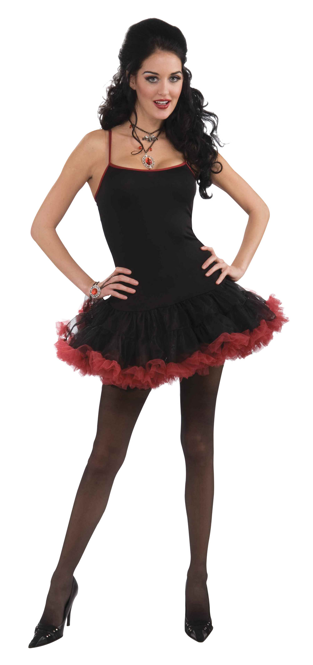 Ladies Black & Red Sexy Witches Halloween Fancy Dress Costume Outfit UK 10-14