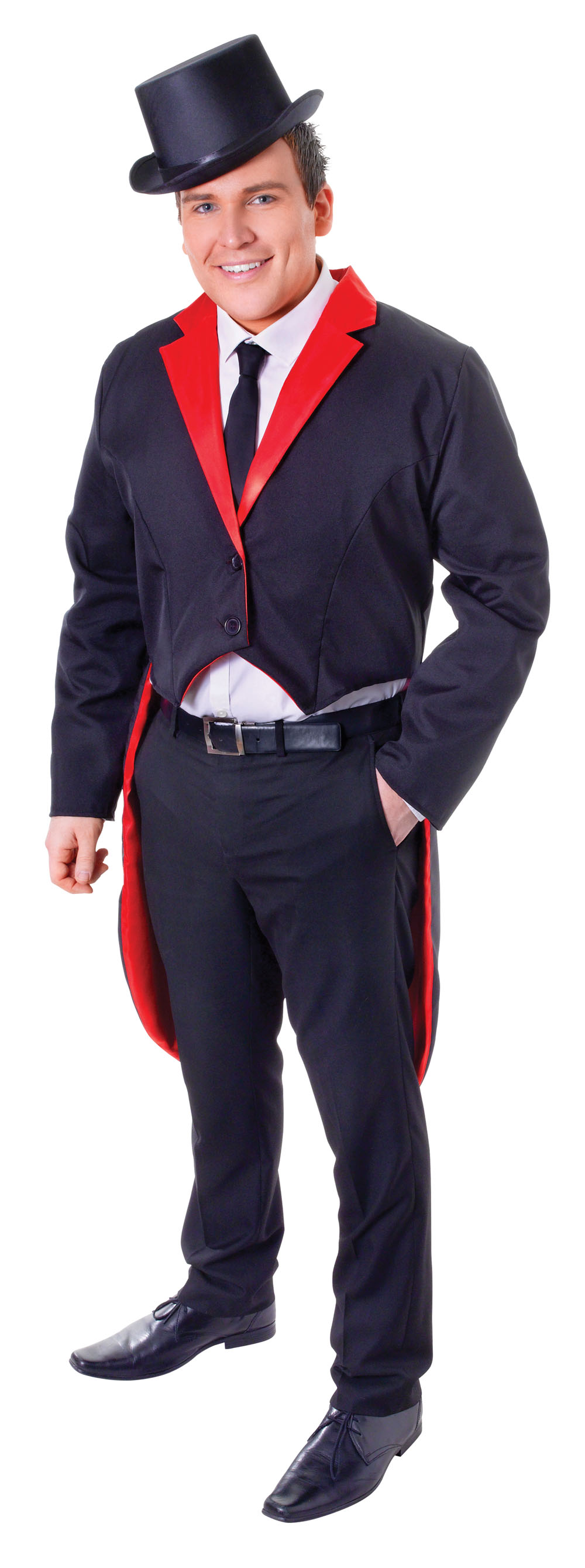 Mens Black & Red Tailcoat Smart Ringleader Fancy Dress Costume Jacket Outfit New