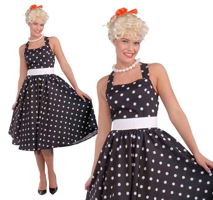 Ladies 1950s Black White Polka Dot Fancy Dress Costume Rock N Roll UK 10-14
