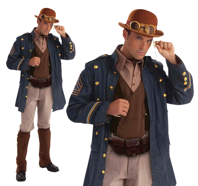 Mens Vintage Steampunk General Fancy Dress Costume Victorian Gentleman Outfit