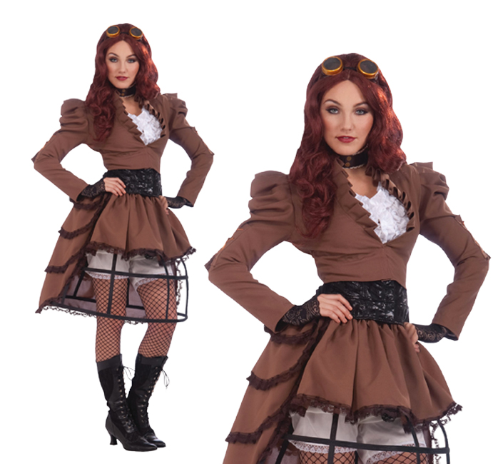 Ladies Sexy Steampunk Vicky Hoop Skirt Fancy Dress Costume Victorian UK 10-14