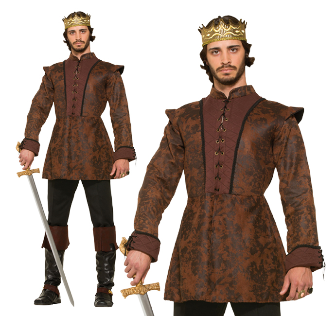 Mens Brown King's Coat Fancy Dress Costume Medieval Game Of Thrones Outfit