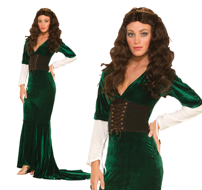 Ladies Green Maid Marion Fancy Dress Costume Renaissance Queen Outfit UK 10-14