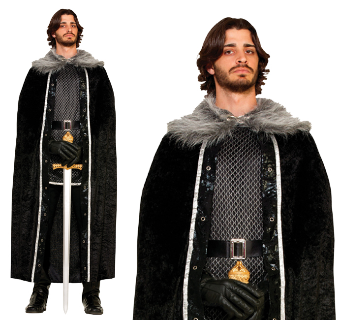 Mens Black Faux Fur Trimmed Cape Fancy Dress Costume Game Of Thrones Outfit
