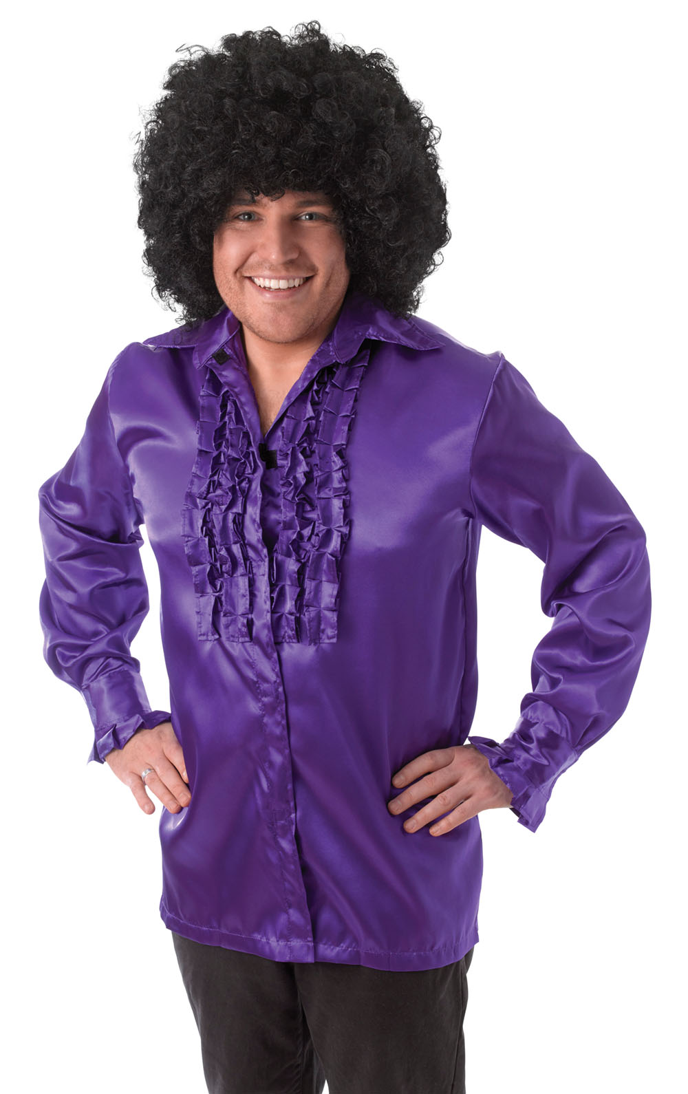 Mens Satin Purple Ruffled Shirt Comedy Fancy Dress Costume Dancing Outfit New
