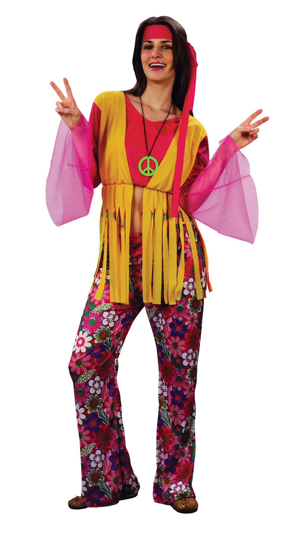 Ladies Trouser Outfit Hippy 1970's Flower Power Fancy Dress Costume UK 10-14