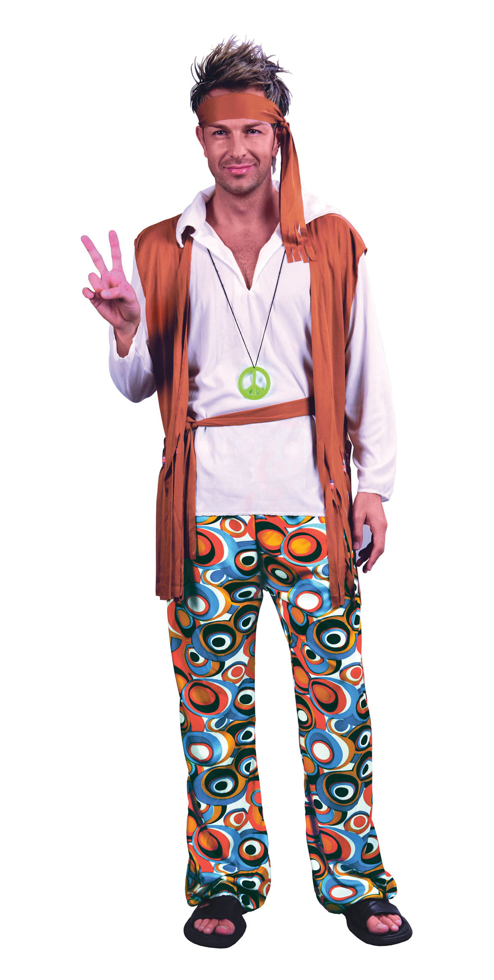 Mens Plus Size Hippy 1970s Flower Power Fancy Dress Costume 70s Party Outfit