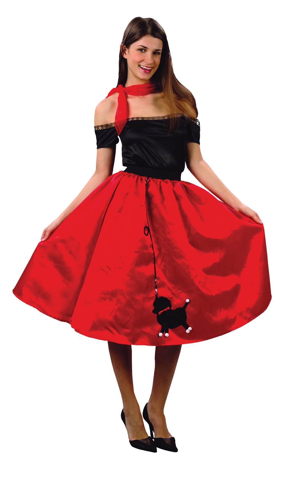 Ladies Red 1950s Dancer Skirt Poodle Fancy Dress Costume