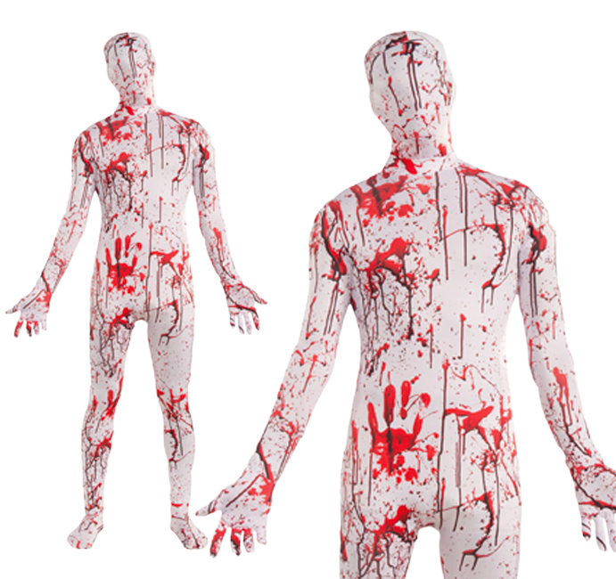 Adult Blood Splattered Body Suit Zombie Fancy Dress Costume Halloween Outfit