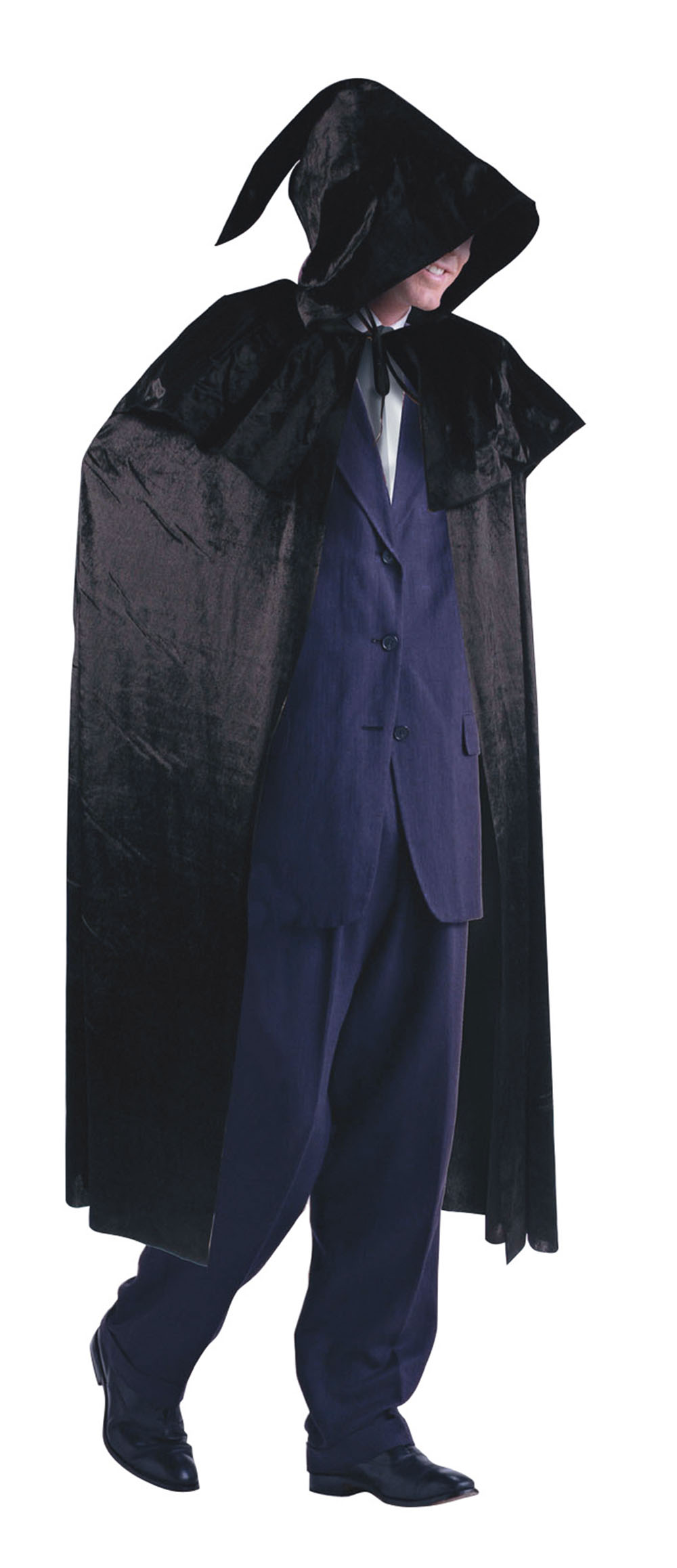 Mens Black Velvet Cloak with Hood Dracula Vampire Fancy Dress Costume Outfit New