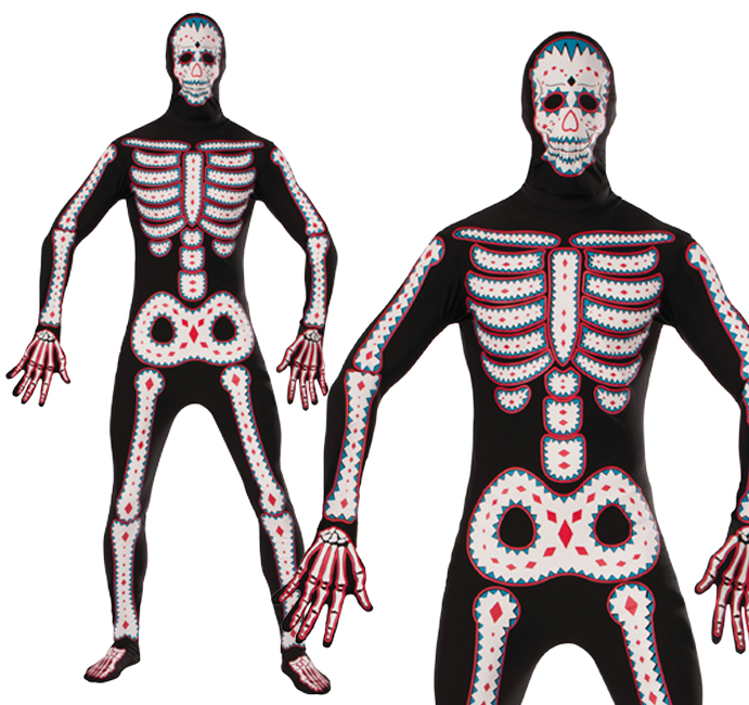 Adult Day Of The Dead Body Suit Fancy Dress Costume Halloween Monster Outfit