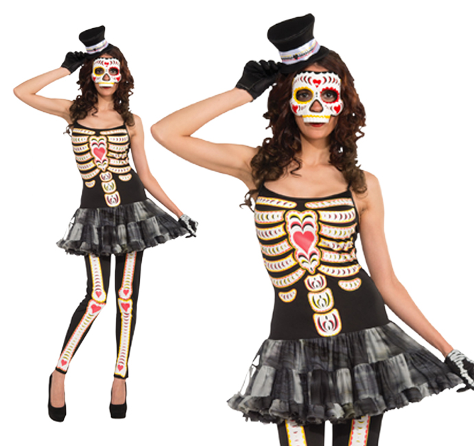 Ladies Tutu Fancy Dress Costume Day Of The Dead Outfit Halloween UK 10-14