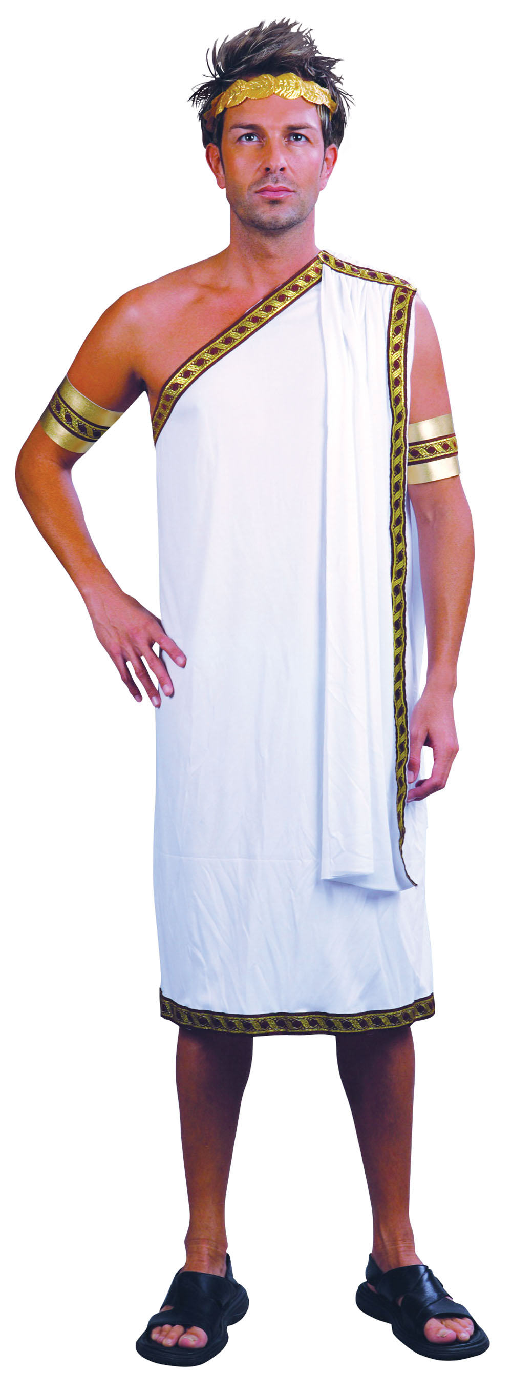 Mens Roman Caesar White Toga Fancy Dress Costume Ancient History Party Outfit