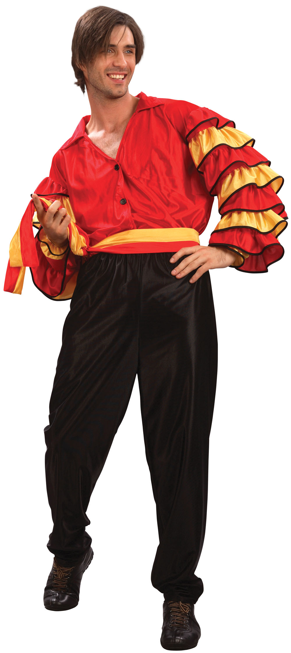 Mens Black & Red Rumba Dancer Fancy Dress Costume Spanish Dance Outfit New