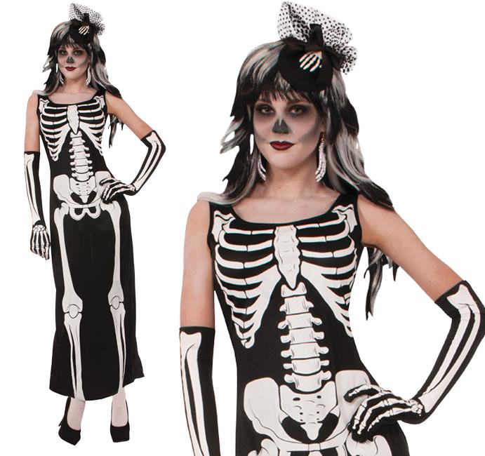 Ladies Long Robe Skeleton Fancy Dress Costume Halloween Party Outfit UK 10-14