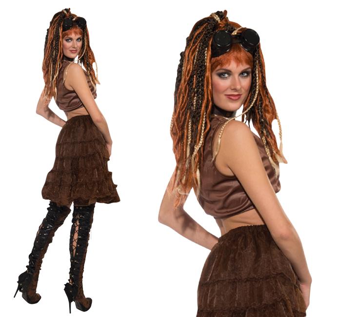 Ladies Steampunk Brown Petitcoat Fancy Dress Costume Cosplay Crinoline UK 10-14