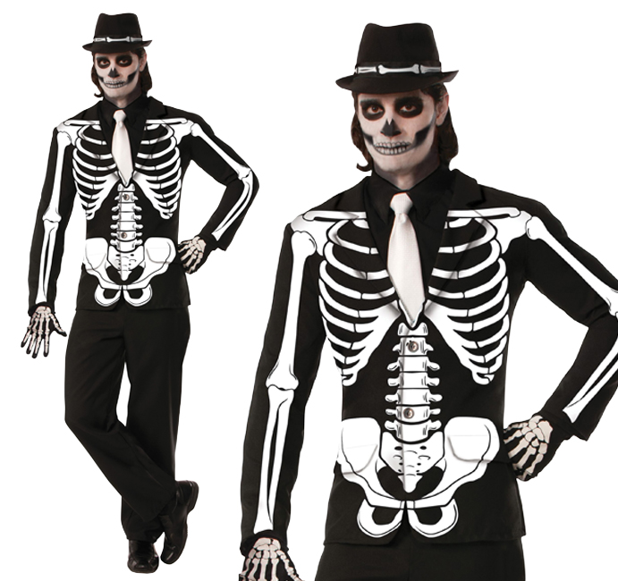 Mens Black Skeleton Jacket Fancy Dress Costume Halloween Blazer Outfit New
