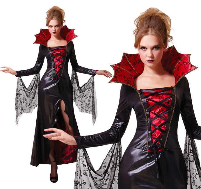 Ladies Vampire Halloween Costume Vampiress Dracula Halloween Outfit UK 10-14