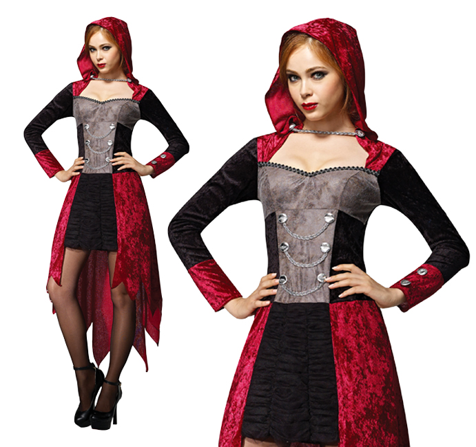 Ladies Vampire Demon Maiden Fancy Dress Halloween Devil Costume Outfit UK 10-14