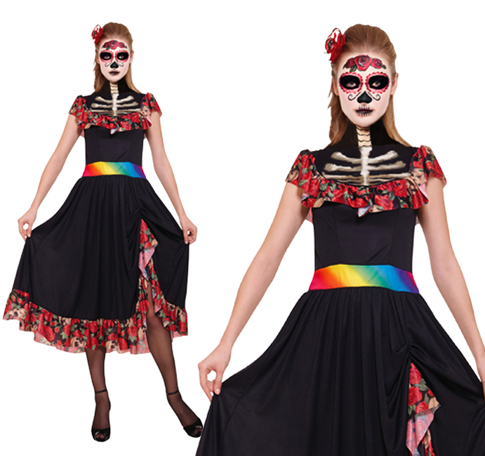 Ladies Day Of The Dead Lady Fancy Dress Costume Halloween Skeleton UK 10-14
