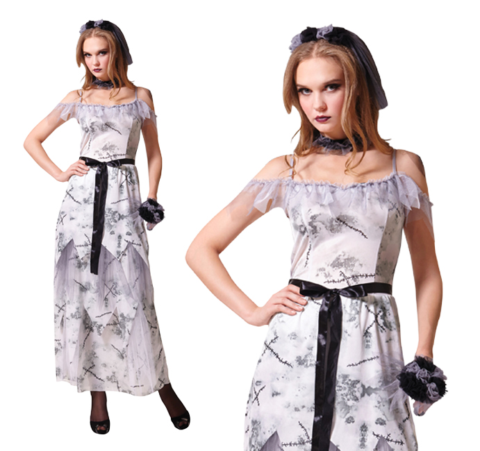 Ladies Zombie Corpse Bride Fancy Dress Costume Halloween Living Dead UK 10-14
