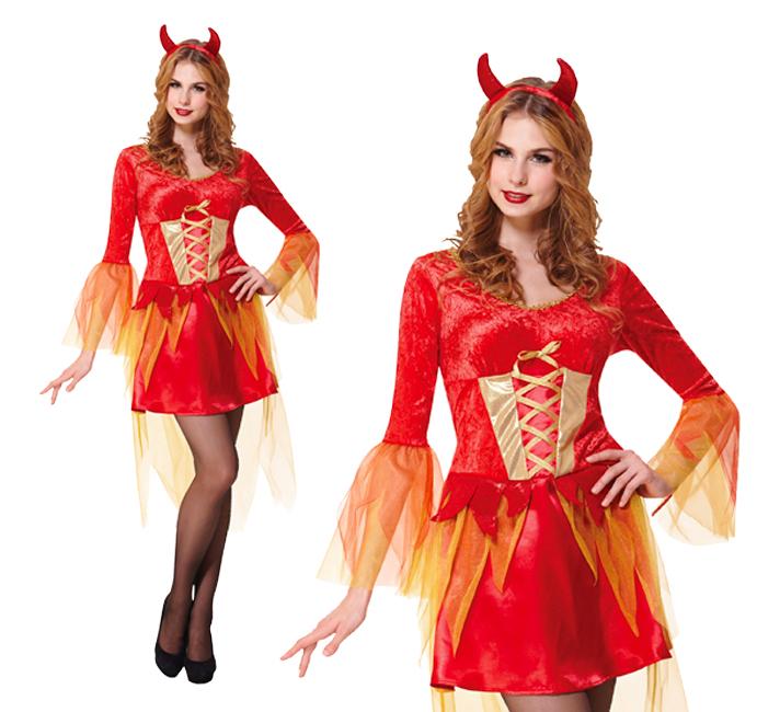 Ladies Devil Maiden Fancy Dress Halloween Demon Womens Costume Outfit UK 10-14