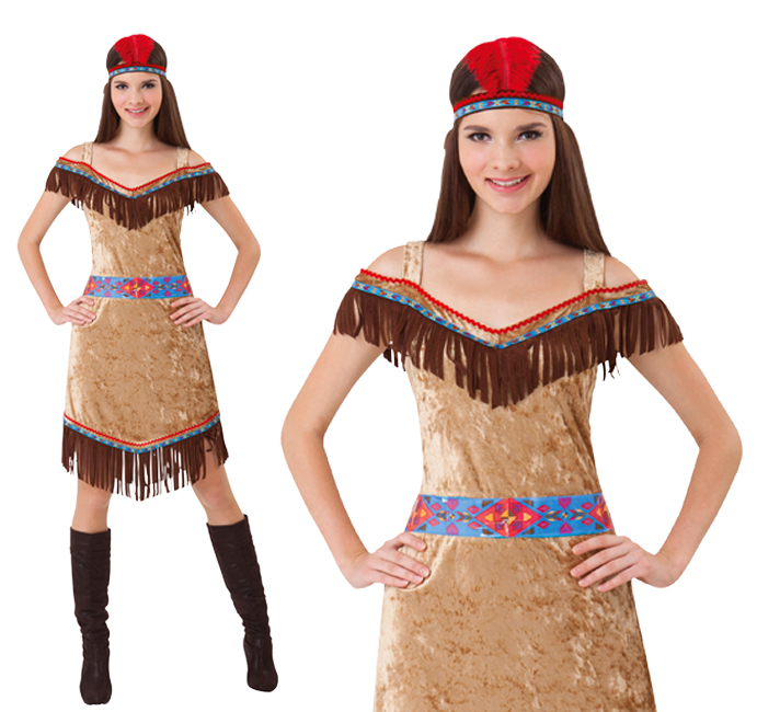 Ladies Deluxe Native American Fancy Dress Costume Sexy Pocahontas Outfit UK 10-1
