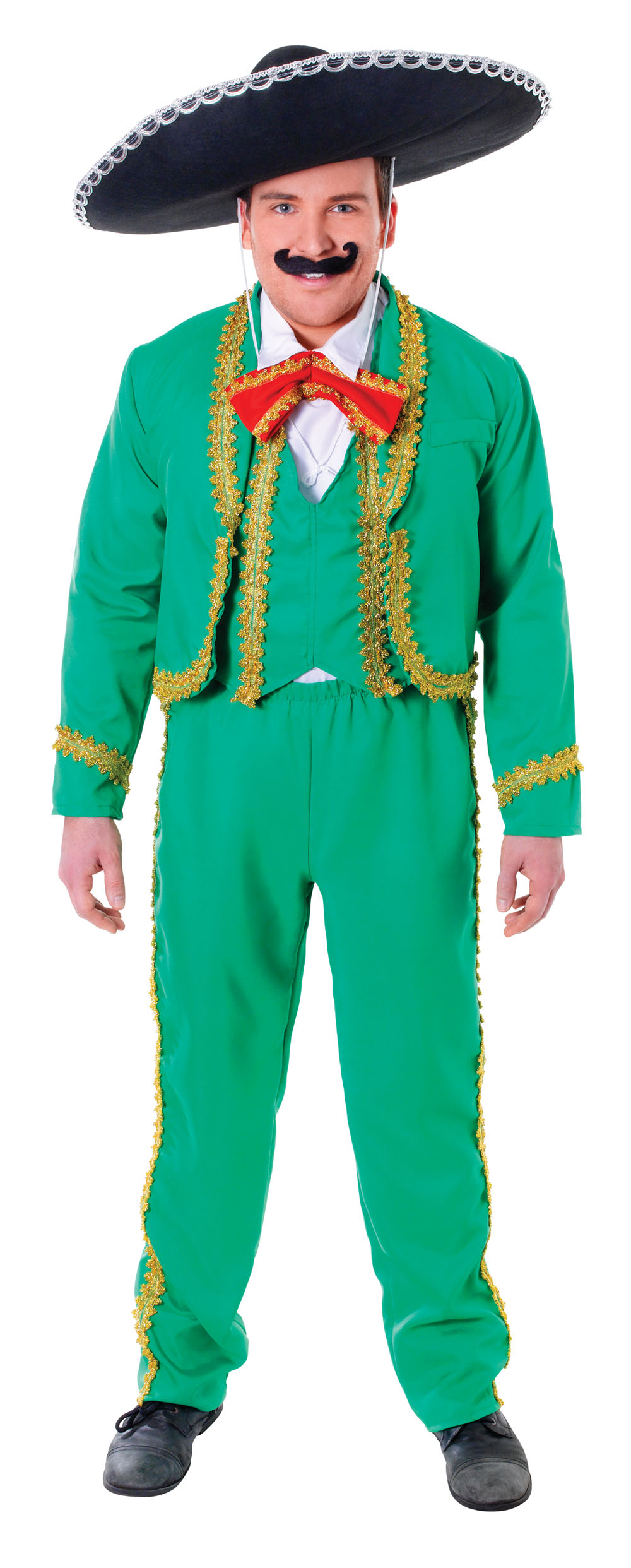 Mens Green Gold Mexican Suit & Black Hat Fancy Dress Costume Mexico ...
