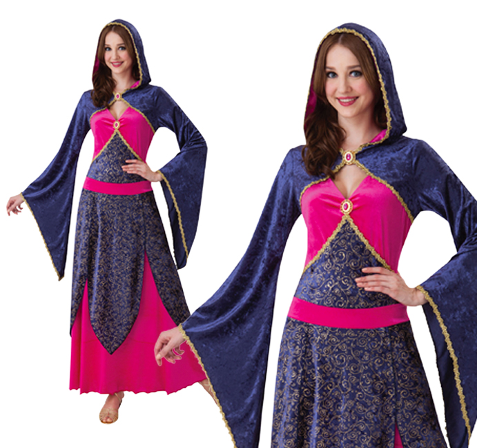 Ladies Hooded Princess Fancy Dress Costume Fairy Tale Outfit UK 10-14