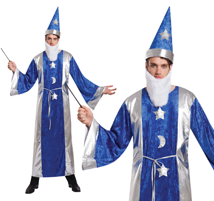 Mens Magicians Robe & Hat Fancy Dress Costume Sorcerers Apprentice Wizard Outfit