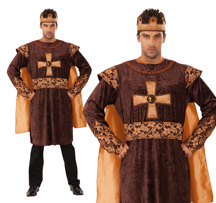 Mens Golden King Fancy Dress Costume Game Of Thrones Medieval Knight Outfit New