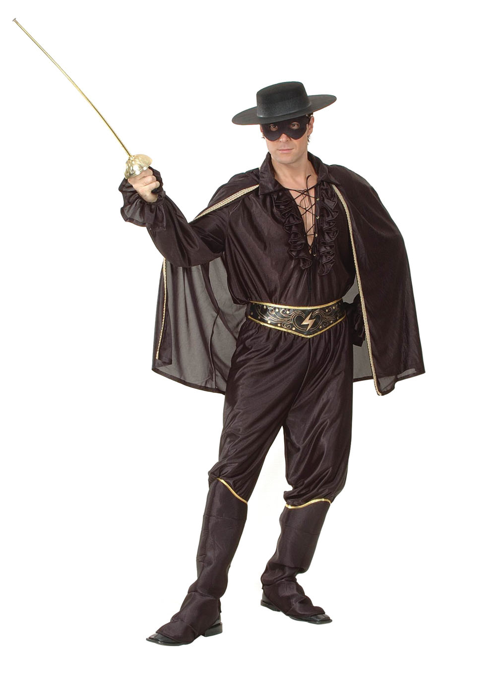 Mens Shiny Black Bandit with Cape Fancy Dress Costume Robber Zorro Outfit New