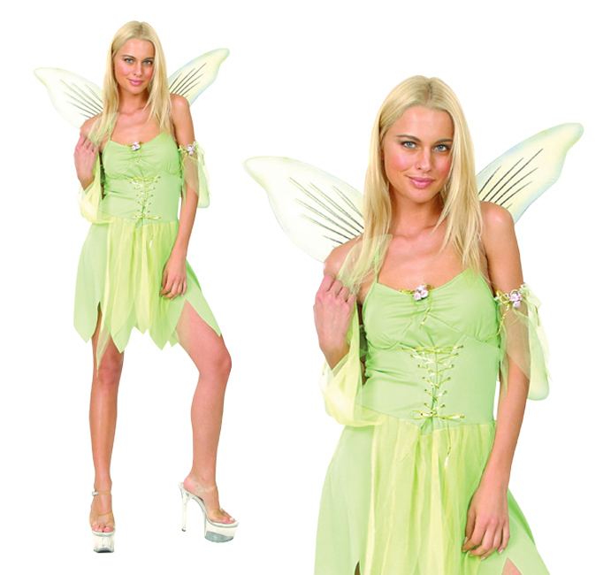 Ladies Sexy Green Tinkerbell Fancy Dress Costume Fairy Pixie Outfit UK 10-14
