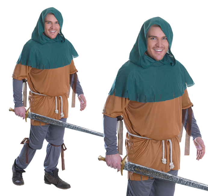 Mens Little John Fancy Dress Costume Robin Hood Stag Do Outfit New