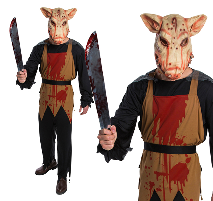 Mens Pig Butchers Fancy Dress Costume Cosplay Halloween Outfit New
