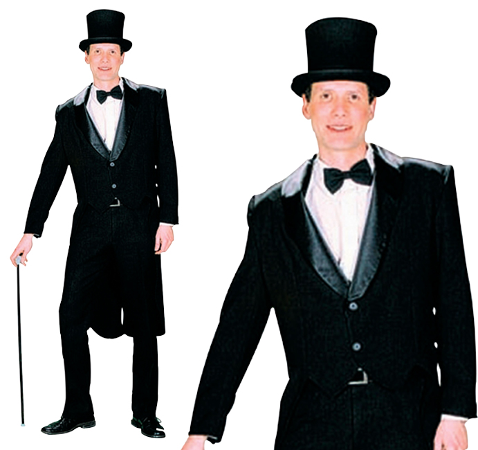 Mens Black Tailcoat Fancy Dress Costume Jacket Victorian Gentleman Outfit New