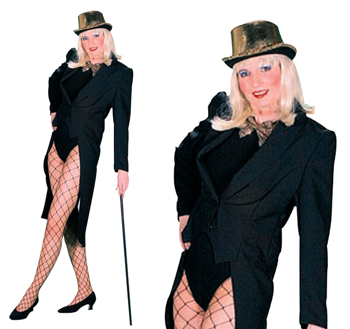 Ladies Black Tailcoat Facy Dress Costume Jacket Circus Ringmaster UK 10-14