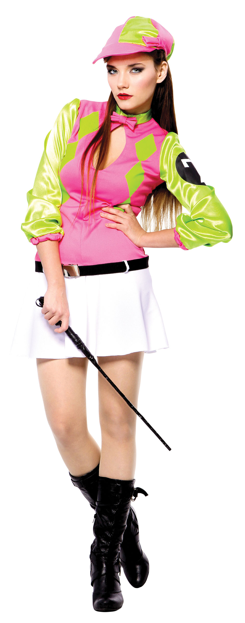 Ladies Sexy Jockey Fancy Dress Costume Horse Rider Pink & Green Outfit Uk 10-14