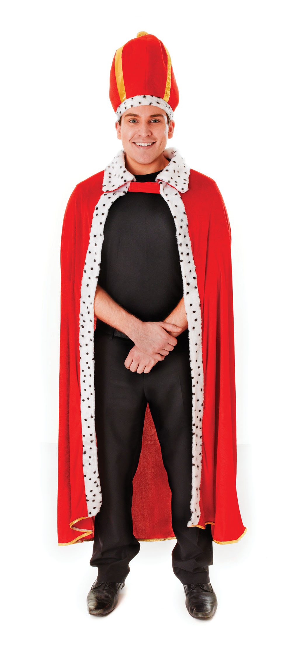 Mens Royal Red & Fur Trimmed Cloak & Hat Fancy Dress Costume King Royalty New