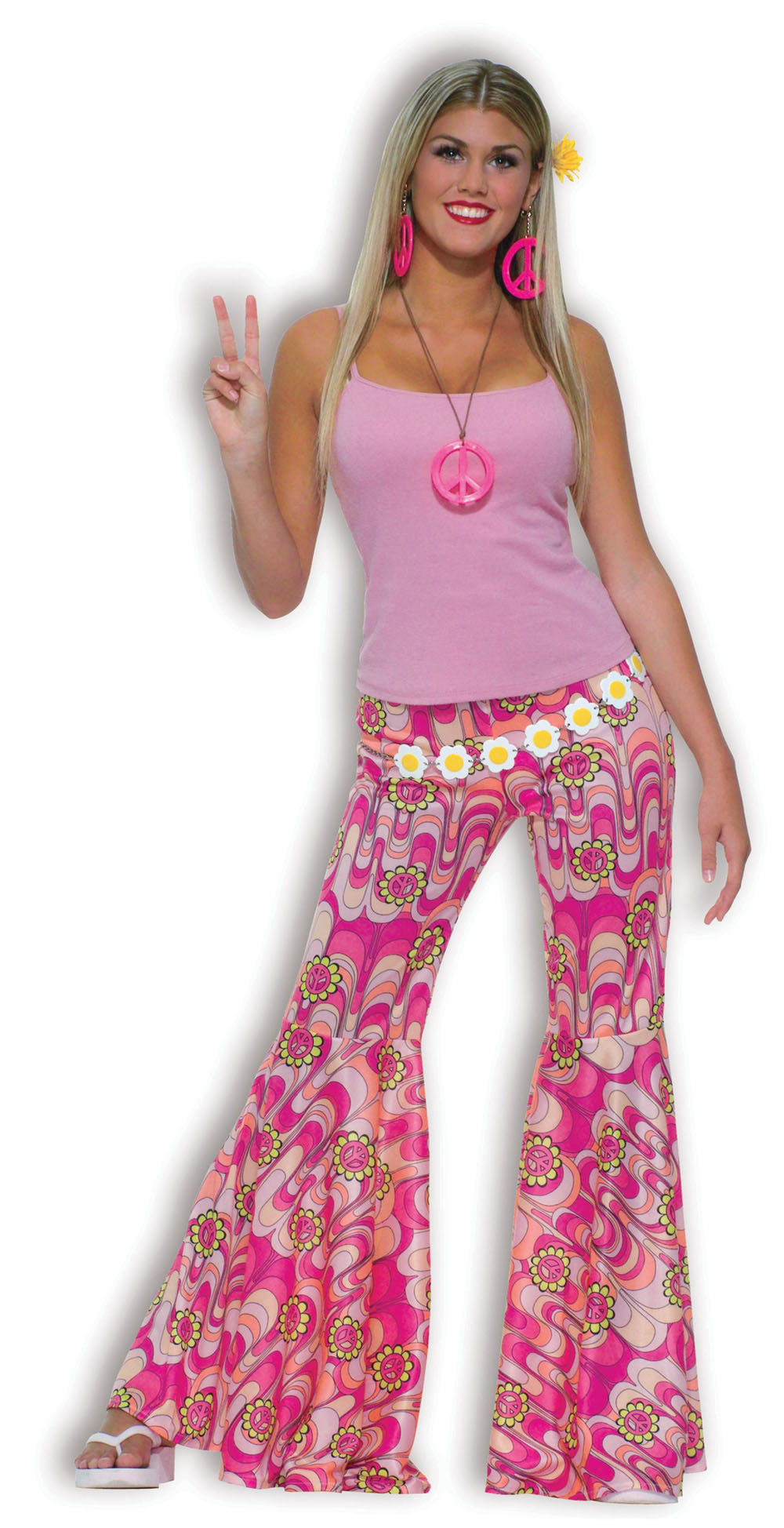 Ladies Flower Power Fancy Dress Costume 70's Hippy Pink Womens Party UK 10-14