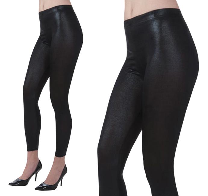 Ladies Shiny Black Leggings Fancy Dress Costume Accessory Sandy D UK 10-14