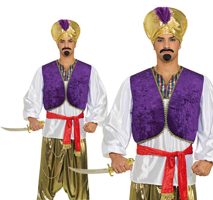 Mens Aladdin Desert Prince Shirt +Vest Fancy Dress Costume Adult Outfit New