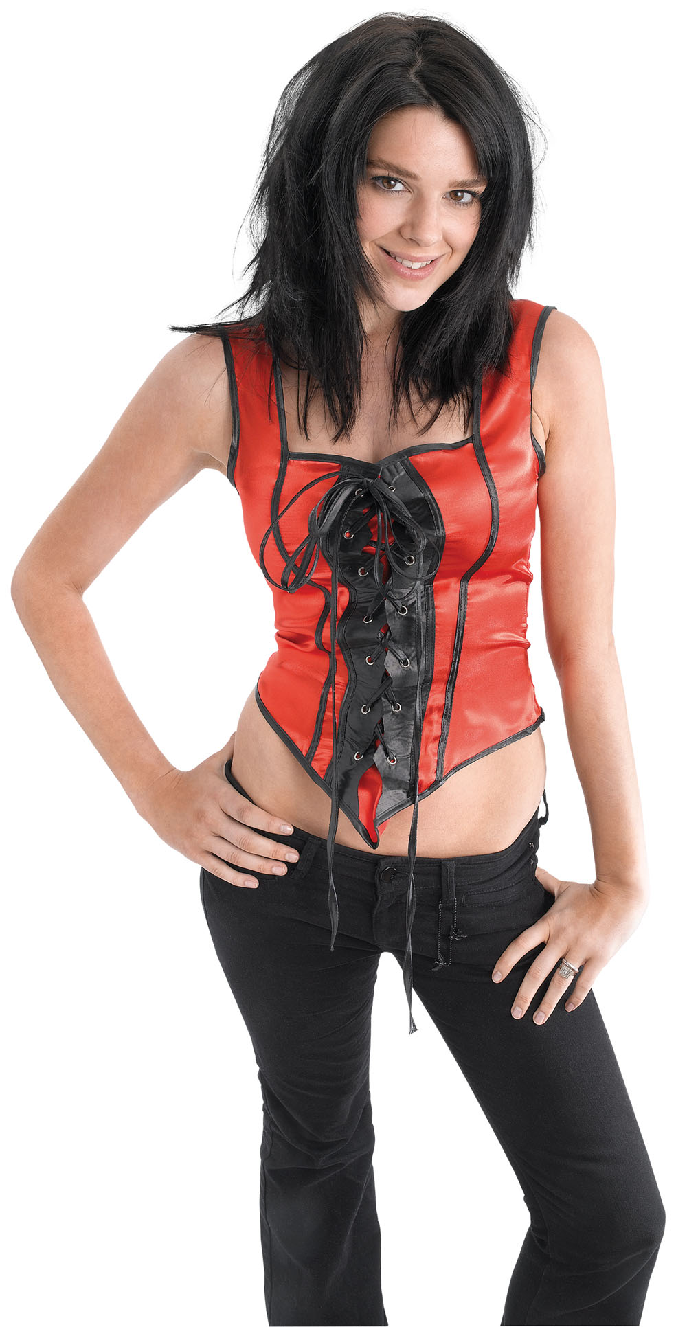Ladies Sexy Corset Black & Red Sexy Fancy Dress Costume Role Play UK 10-14