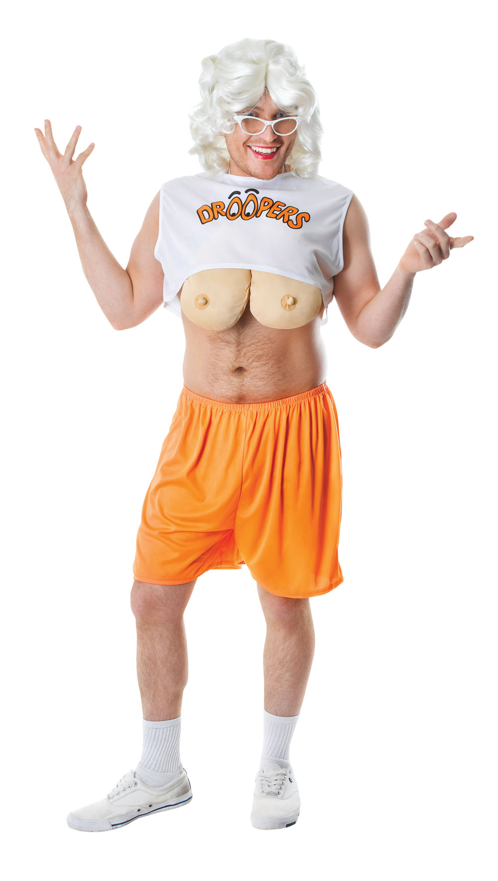 Mens Comedy Hooters T-Shirt Droopers Fancy Dress Costume Stag Do Outfit New