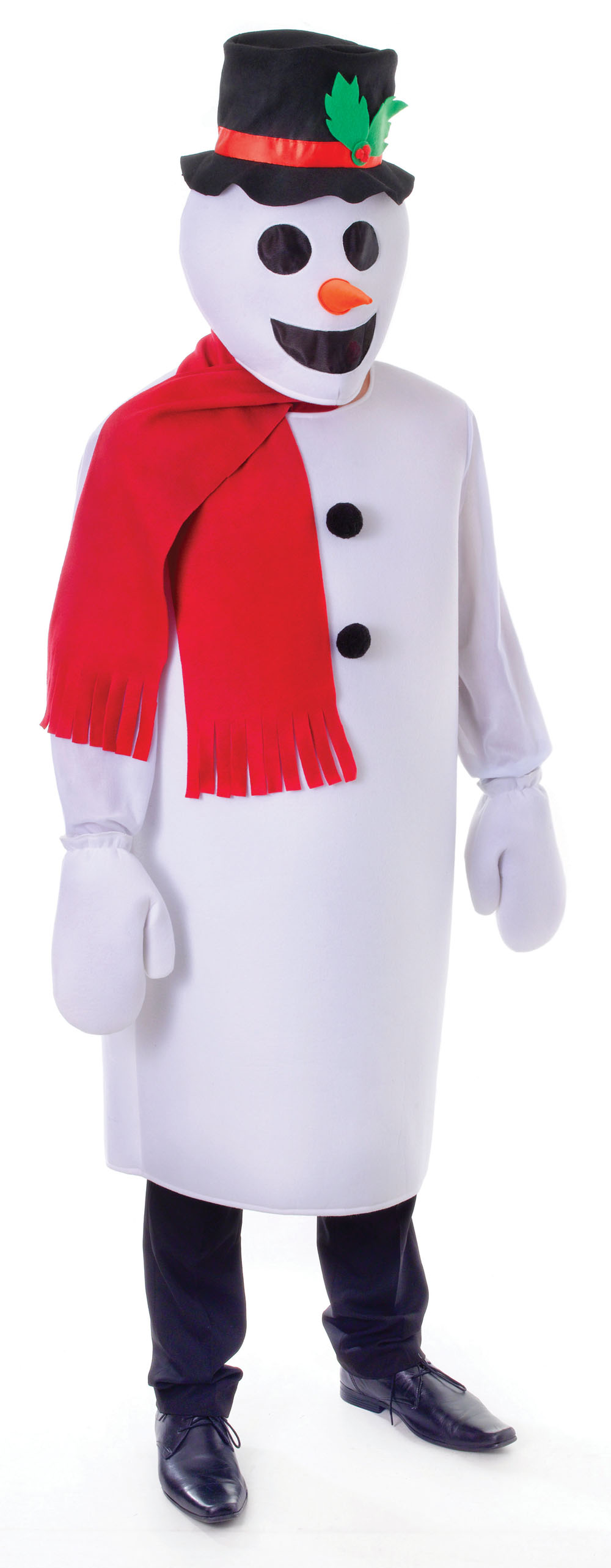 Unisex White Snowman with Hat & Scarf Fancy Dress Costume Winter Snow Man