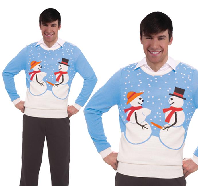 Adult Mens Naughty Snow Couple Christmas Jumper Novelty Snowman Top Secret Santa
