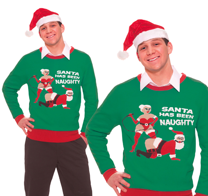 Adult Mens Naughty Santa Christmas Jumper Sweater Novelty Top Secret Santa
